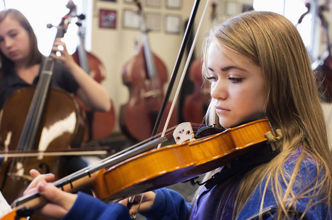 Girls are more likely to want to play the violin (14 per cent)