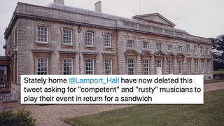 Lamport Hall asked amateur musicians to play in exchange for free food