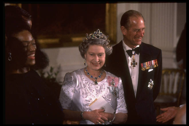 1991: Queen Elizabeth II and the Duke of Edinburgh at WH State Dinner with opera singer Jessye Norman