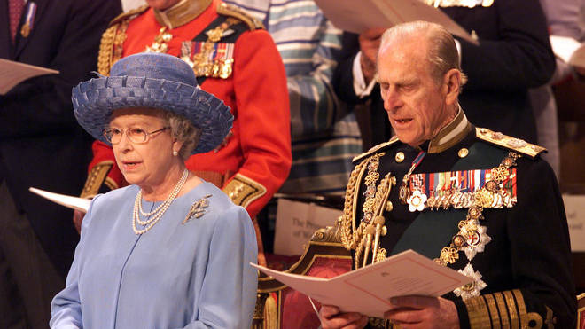 2002: Queen Elizabeth II and the Duke of Edinburgh sing hymns at St Paul's Cathedral during a service of Thanksgiving to celebrate The Queen's Golden Jubilee.