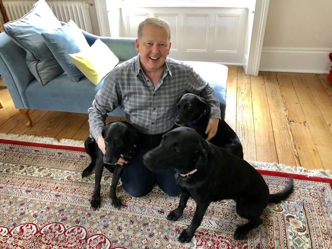 Bill Turnbull with his three labradors