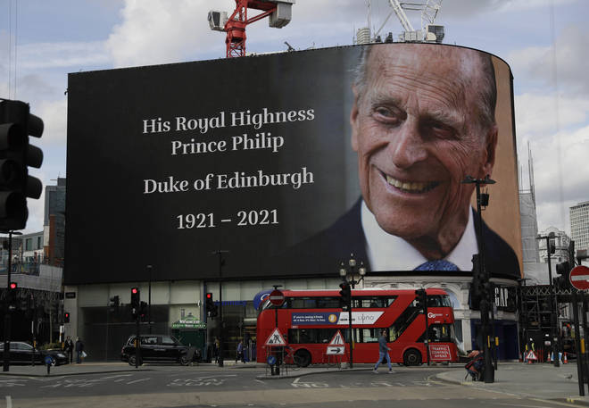 2021: A tribute to the Duke of Edinburgh is projected onto a large screen at Piccadilly Circus in London