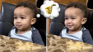 Toddler's reaction to his grandpa playing saxophone is pure love and joy
