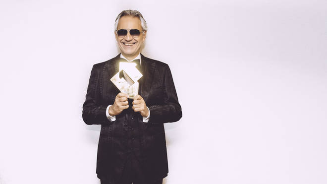 Andrea Bocelli receives the Official Charts Company No.1 Album Award. Pic: Luca Rossetti