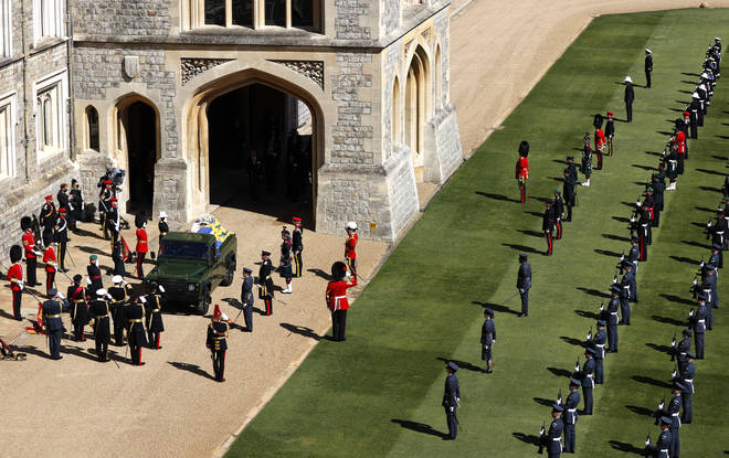 Band of the Grenadier Guards play Walch's Funeral March outside Windsor Castle
