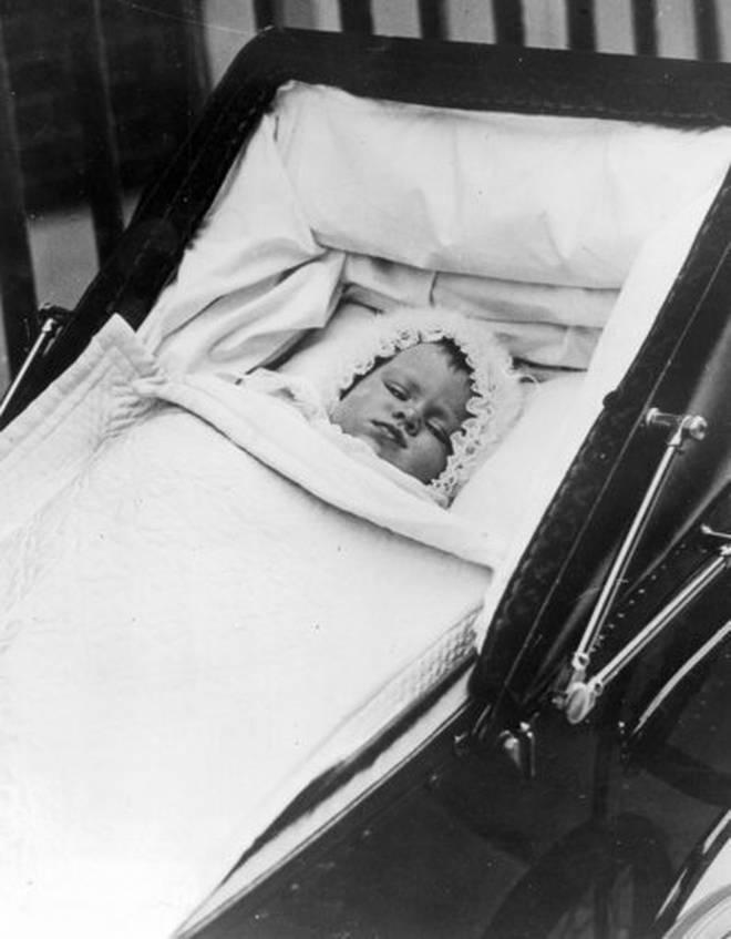 Princess Elizabeth in her pram as a baby