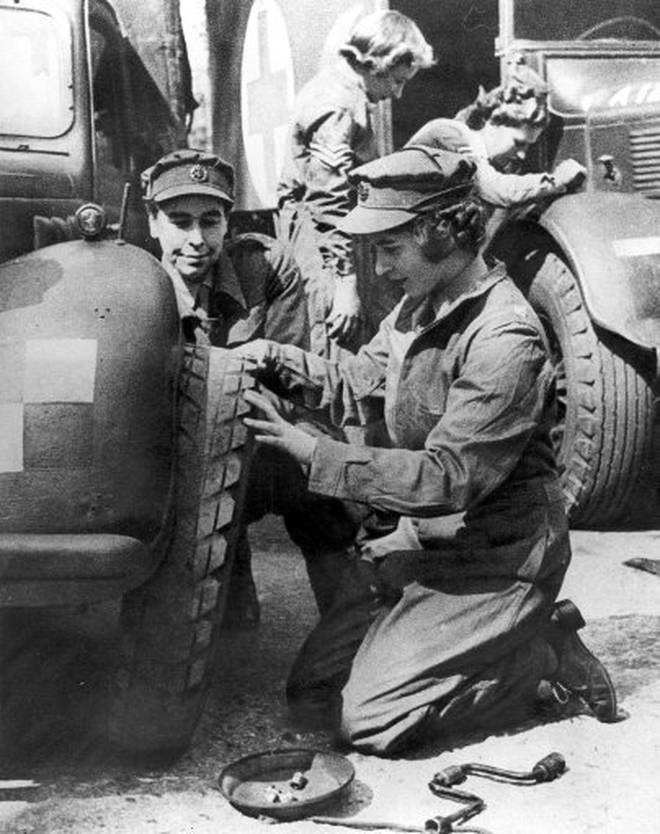 Princess Elizabeth trains as a mechanic as part of the British Army's Auxiliary Territorial Service during World War II