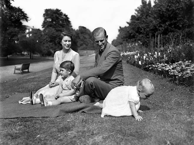 Princess Elizabeth and Prince Philip with their two children, Prince Charles and Princess Anne