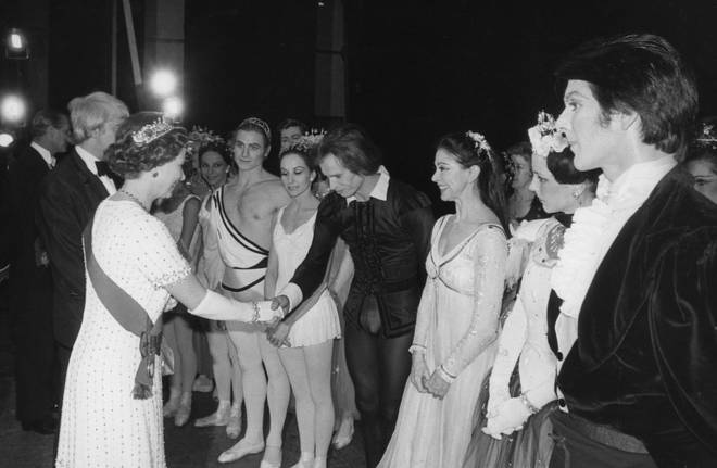 Queen Elizabeth II attends a Gala Silver Jubilee Performance of opera and ballet at the Royal Opera House, London