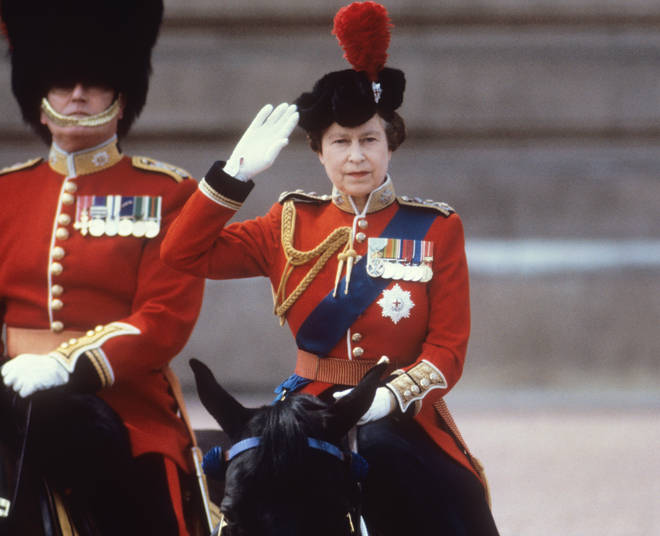 Queen Elizabeth II during the Trooping of the Colour ceremony in London