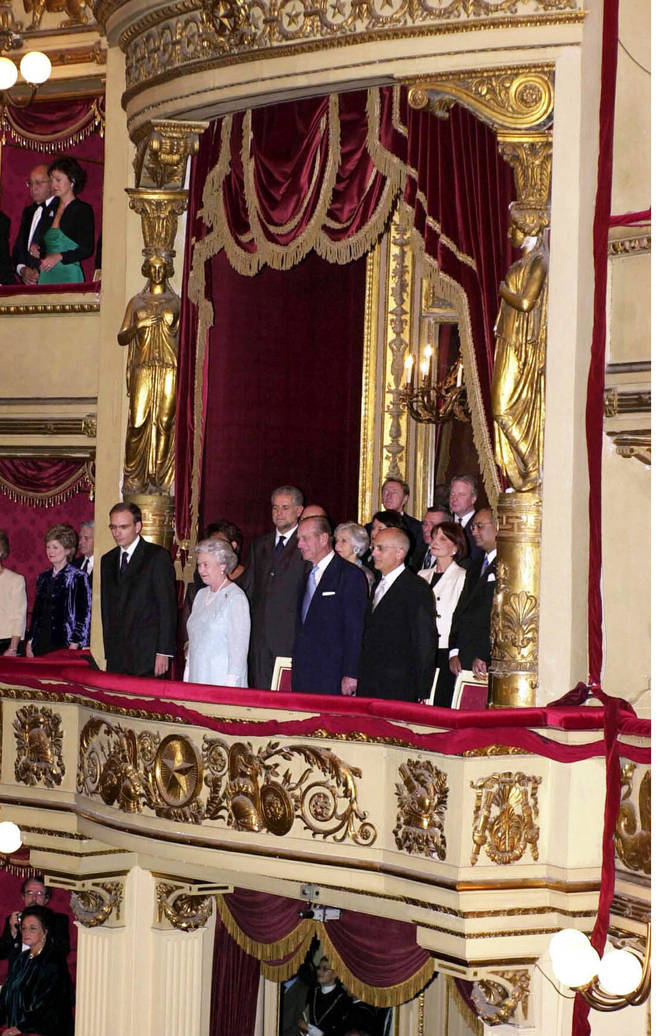The Queen And Prince Philip in a Royal box at La Scala opera house