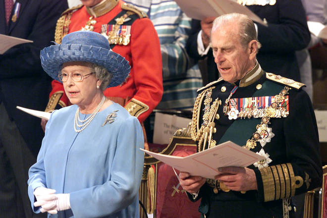 The Queen and Prince Philip sing hymns during a service to mark her Golden Jubilee at St. Paul's Cathedral