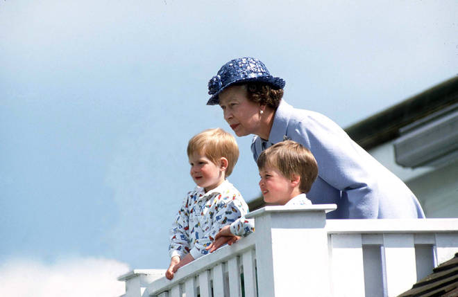The Queen With Prince William and Prince Harry at the polo