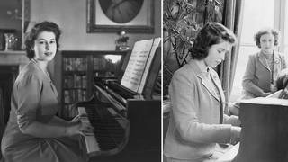 Princess Elizabeth playing the piano in Buckingham Palace, 1946.