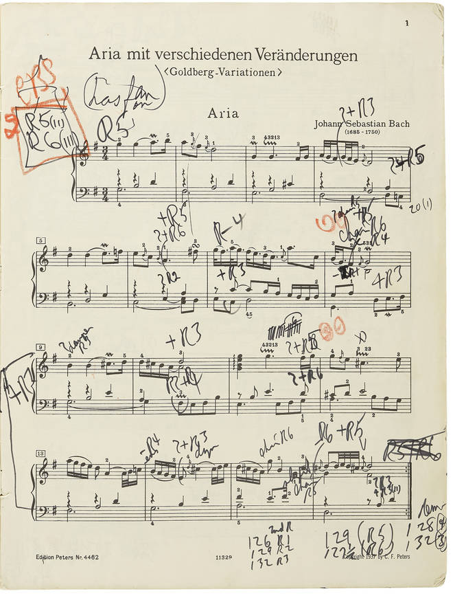 The score of the Goldberg Variations that Glenn Gould used for his 1981 recording