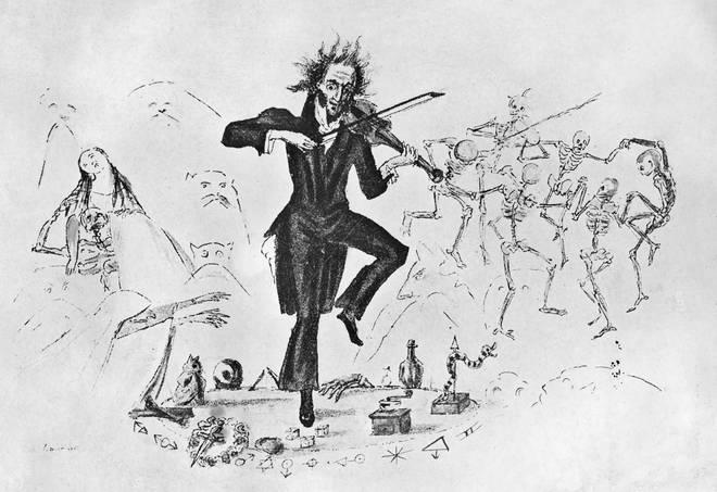 Niccolò Paganini with his violin