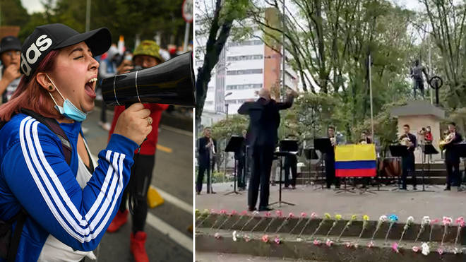 Orchestra joins Colombia's anti-government protests