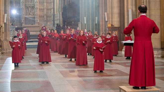 Truro Cathedral Choristers during filming for Sing2G7, conducted by Christopher Gray