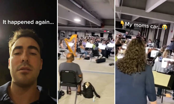 Awkward moment a pop-up orchestra traps guy's mum's car in parking lot