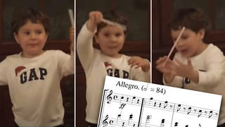 Three-year-old conducts Beethoven's Fifth Symphony