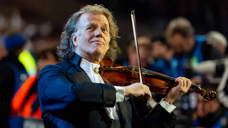 Andre Rieu plays violin at UEFA Champions League in Amsterdam, Netherlands