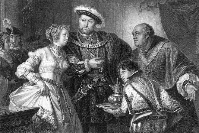 Depiction of Henry VIII meeting his second wife, Anne Boleyn