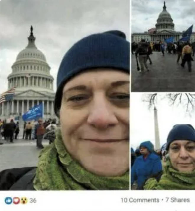 Facebook post shows Southard attending US Capitol riots on 6 January