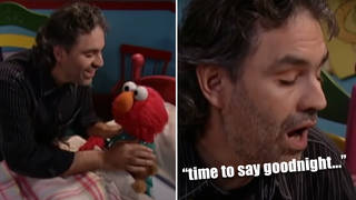 Star tenor Andrea Bocelli sings a lullaby to Elmo