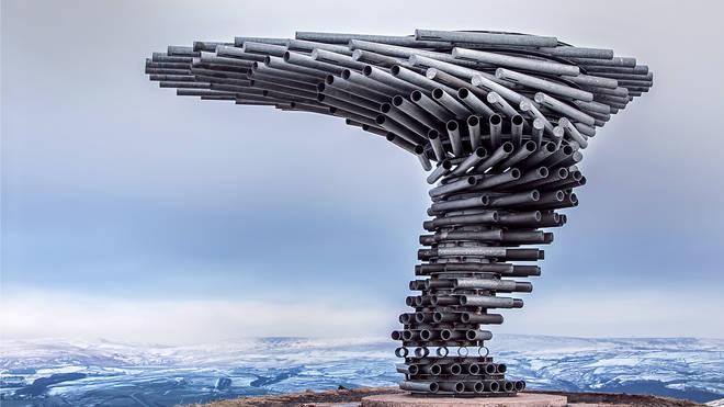 Aeolian harp sculpture in Burnley, Lancashire