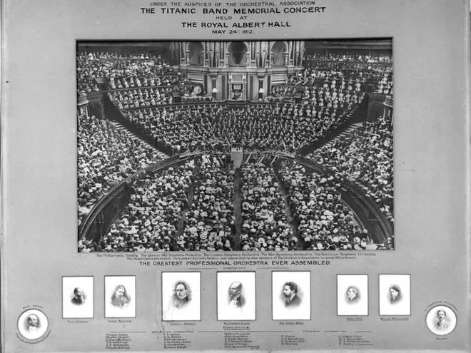Poster for the Royal Albert Hall's 1912 Titanic musicians' memorial concert