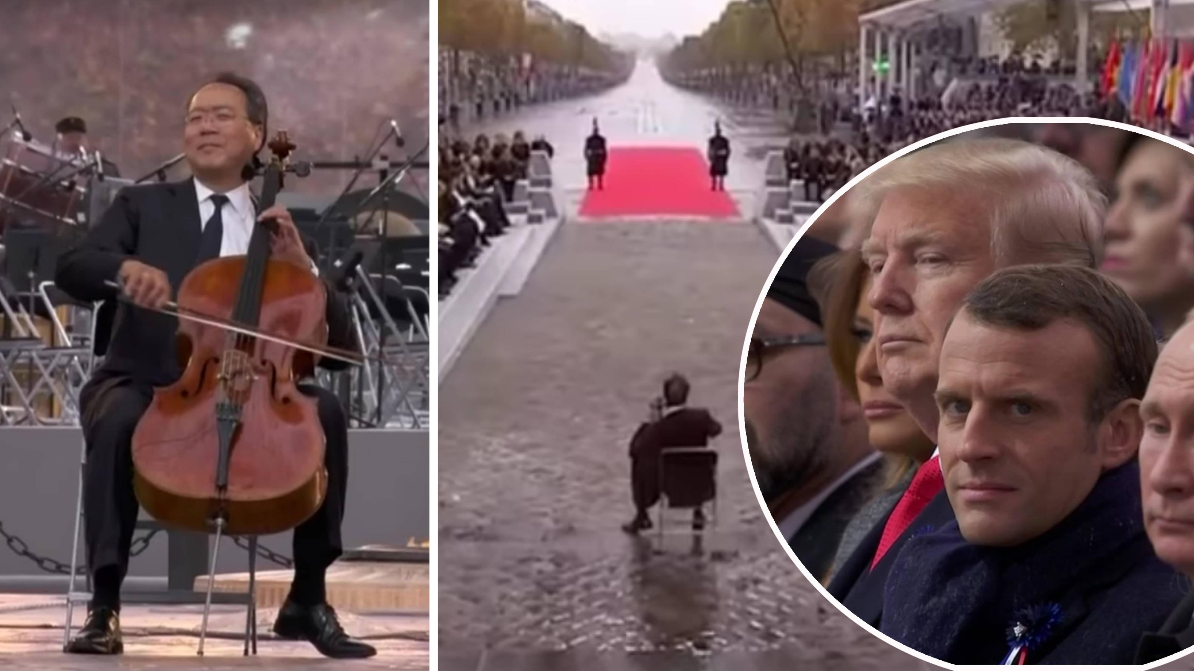 Yo-Yo Ma performs during the Armistice ceremony in Paris