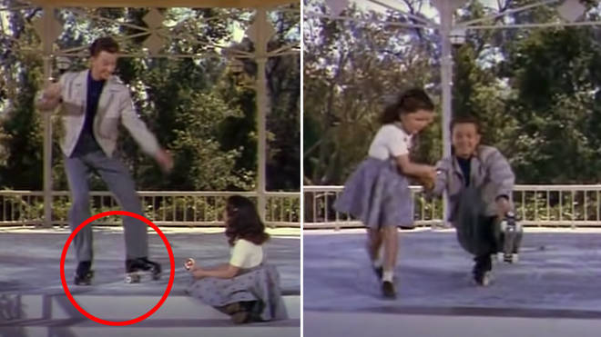 Donald O'Connor performs a breathtaking tap dance routine on roller skates