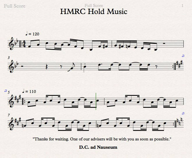 Alan Drever-Smith transcribed HMRC's hold music during a 40-minute wait