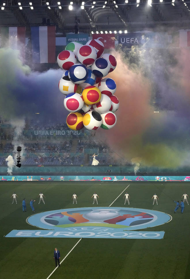 Balloons rose up through Rome's stadium as Andrea Bocelli sang 'Nessun Dorma'
