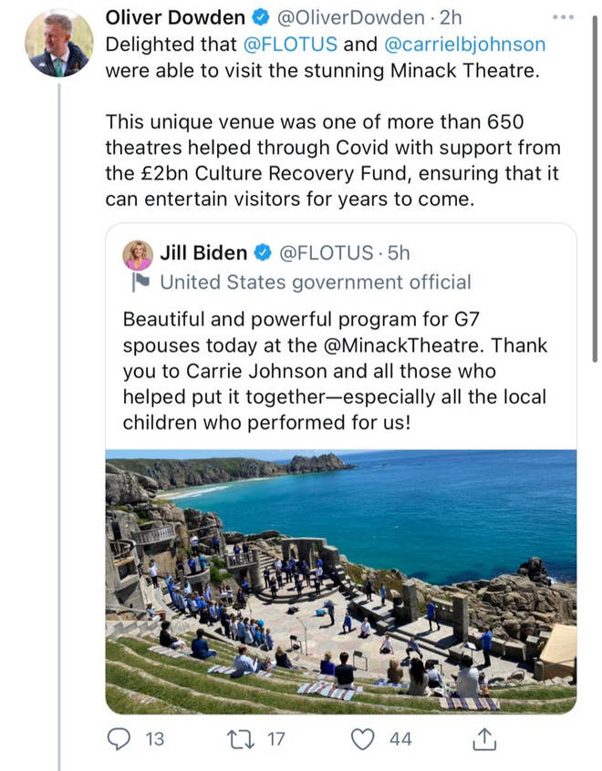 Now-deleted tweet by Oliver Dowden falsely claims Minack Theatre received Covid cash