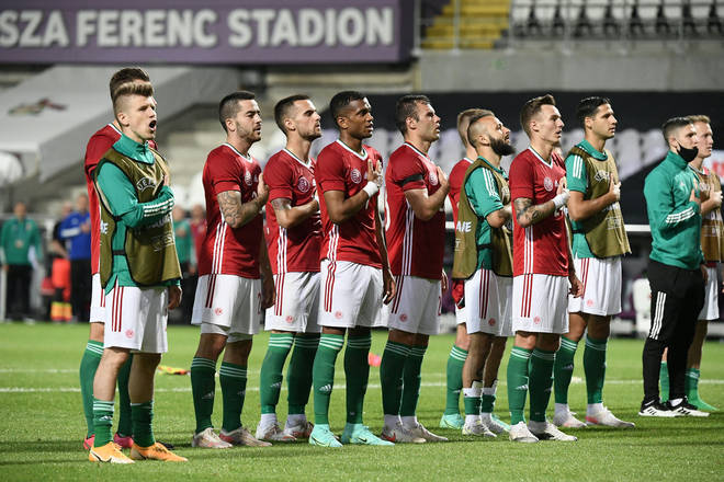Hungary's players sing their national anthem during friendly in Budapest on 4 June 2021 in preparation for Euro 2020