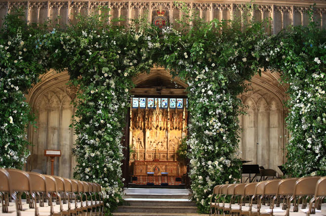 Flowers adorn the front of the organ loft inside St George's Chapel at Windsor Castle for the wedding of Prince Harry to Meghan Markle.