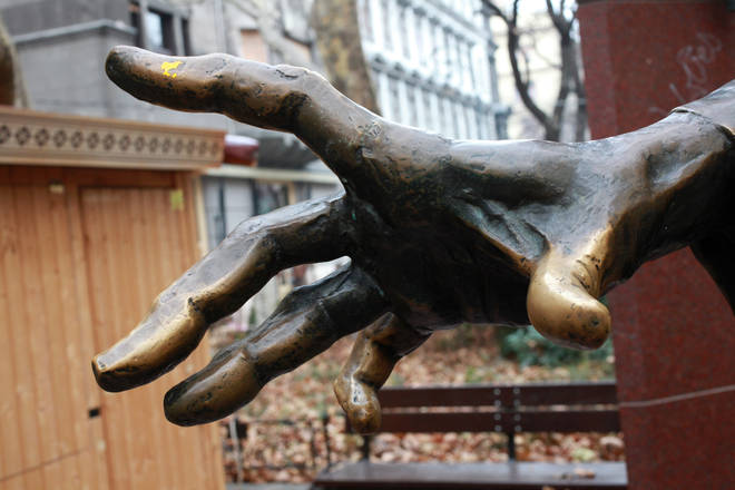 Hungarian composer and pianist Franz Liszt's hand in Ferenc Square, Budapest