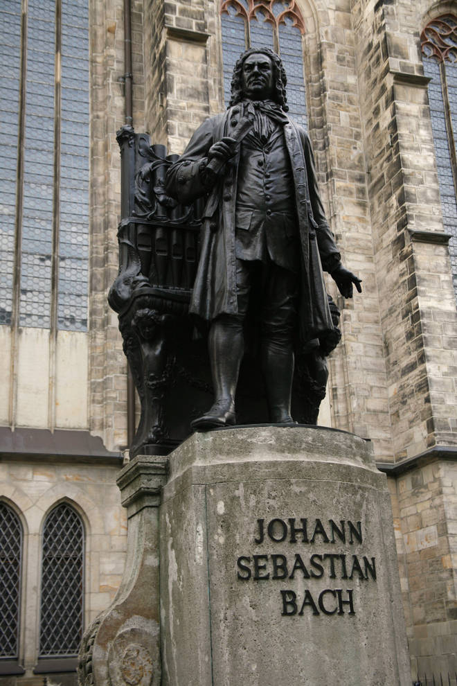 Statue of JS Bach in courtyard of St Thomas Church in Leipzig, Germany, where he was organist and musical director