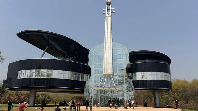 Violin and piano Building in Huainan City, China