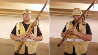 Rugged ironworker performs sublime Lord of the Rings music on the flute