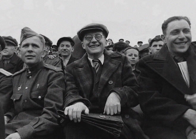 Dmitri Shostakovich watching his favourite Spartak football team on a Sunday morning in Moscow