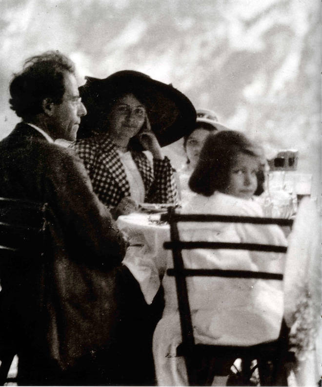 Gustav Mahler enjoying some family time with his wife Alma and daughters Anna and Maria. (1910)