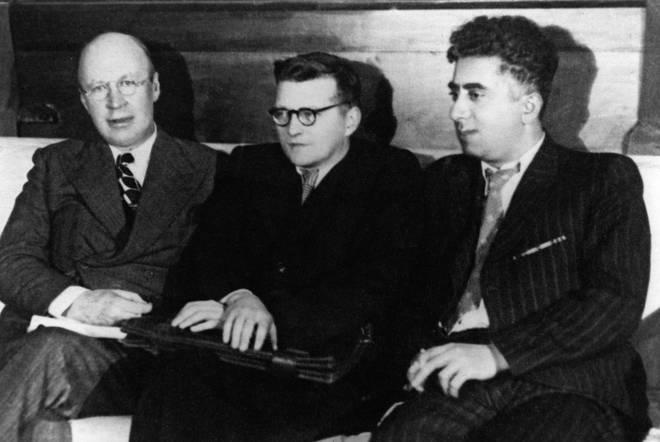 Soviet composers Sergei Prokofiev, Dmitri Shostakovich and Aram Khachaturian just hanging out..