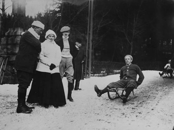 Richard Strauss sledging in Schierke, Germany.