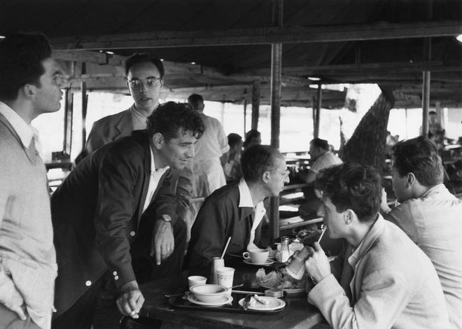 Leonard Bernstein at lunch with fellow composer Aaron Copland at Tanglewood, the summer home of the Boston Symphony Orchestra in Massachusetts. (1946)