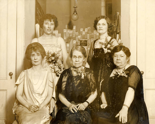 Pioneering composer Amy Beach with four American female song writers in April, 1924.