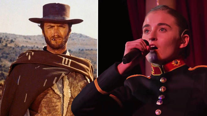 The Good, The Bad and the Ugly theme, except it's sung by a vocalist