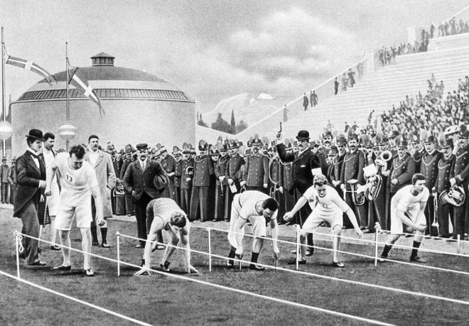 Drawing of the first modern Olympic Games in Athens: At the start of the 100 meters final run the runners take different positions