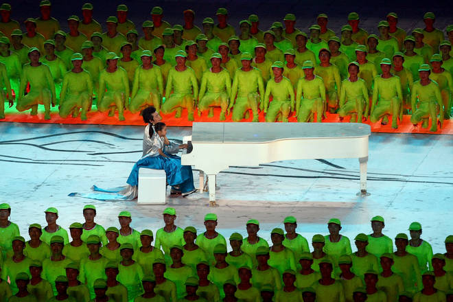 Lang Lang plays at the 2008 Olympics Opening Ceremony